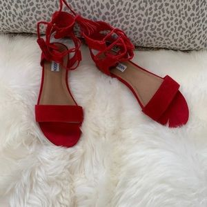 Steve Madden red suede sandals